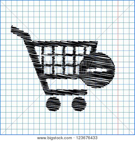 Vector Shopping Cart Remove  Icon. Flat style icon with scribble effect on school paper.