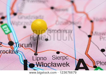 Photo of pinned Lipno on a map of Poland. May be used as illustration for traveling theme.