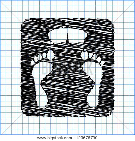 Bathroom scale sign. Flat style icon with scribble effect on school paper.