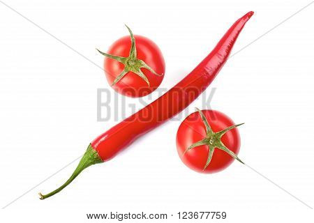 Single chilli pepper and two tomatos arranged as percent symbol. Isolated on white bacground