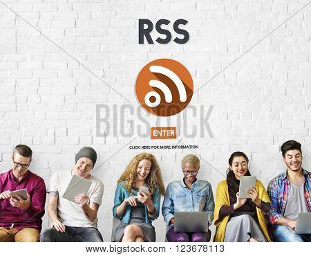 RSS Digital Announcement Network Technology Concept