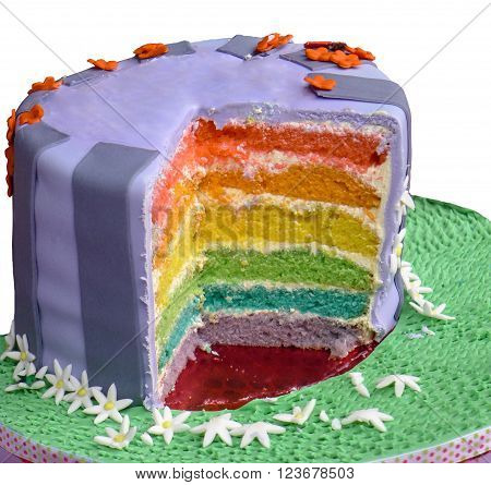 Multi-layered birthday cake with different colour on each layer