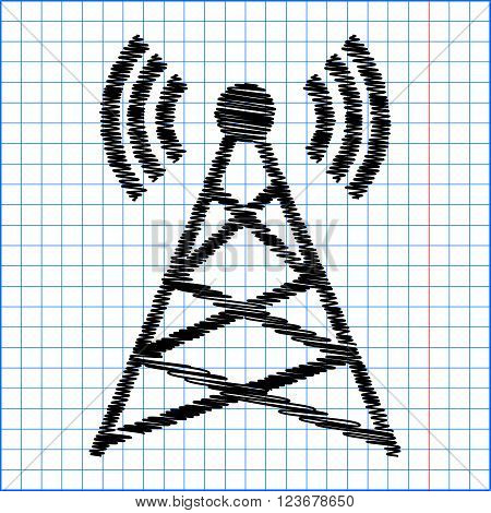 Antenna sign. Flat style icon with scribble effect on school paper.