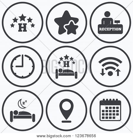 Clock, wifi and stars icons. Five stars hotel icons. Travel rest place symbols. Human sleep in bed sign. Hotel check-in registration or reception. Calendar symbol.
