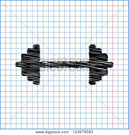 Dumbbell weights sign. Flat style icon with scribble effect on school paper.