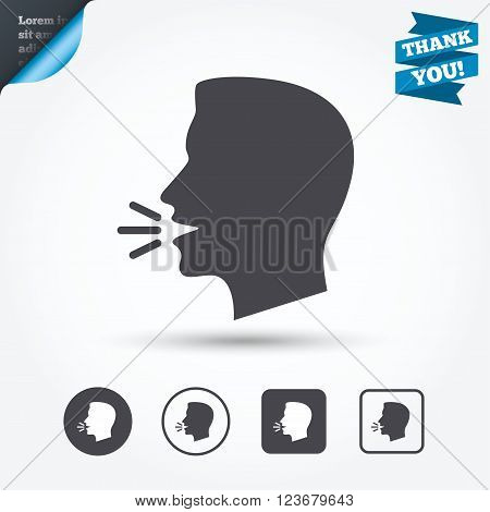 Talk or speak icon. Loud noise symbol. Human talking sign. Circle and square buttons. Flat design set. Thank you ribbon.