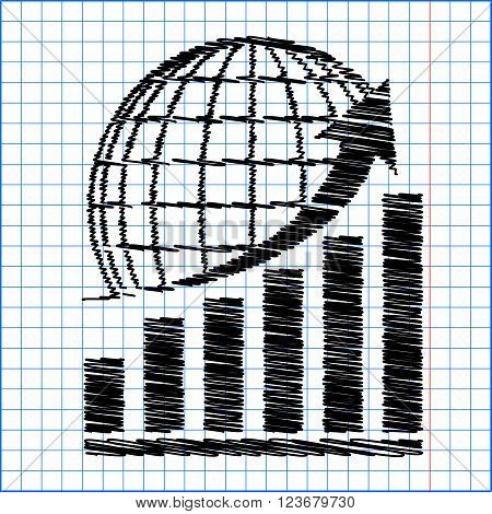 Growing graph with earth. Flat style icon with scribble effect on school paper.