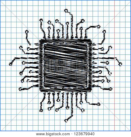 CPU Microprocesso. Flat style icon with scribble effect on school paper.