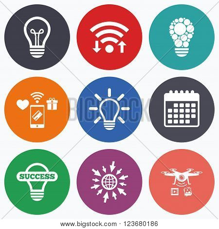 Wifi, mobile payments and drones icons. Light lamp icons. Circles lamp bulb symbols. Energy saving. Idea and success sign. Calendar symbol.