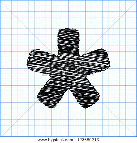 Asterisk star sign. Flat style icon with scribble effect on school paper.