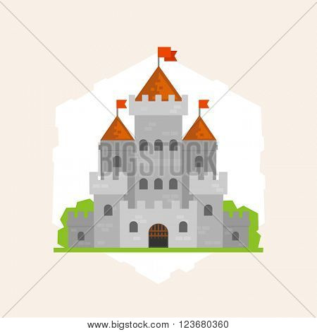 Vector medieval stone castle. Flat style illustration.