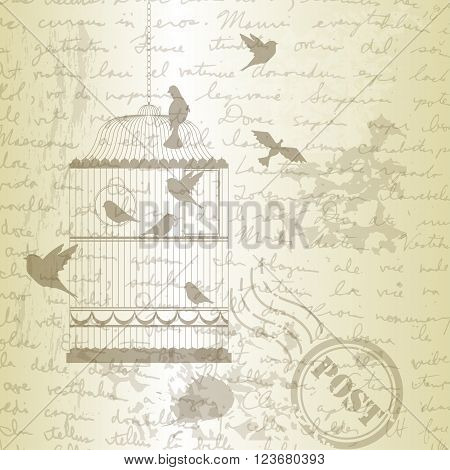 Vector illustration, of bird cage with birds on grange old paper with post stamp