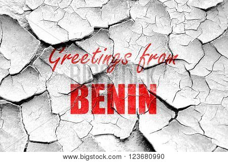Grunge cracked Greetings from benin card with some soft highlights