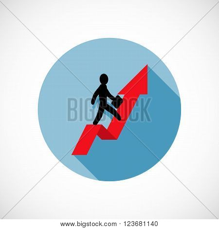Concept, businessman on red arrow, a metaphor for success, rate of climb, business, growth, achievement, growth, job, career, leadership, education, goals or future