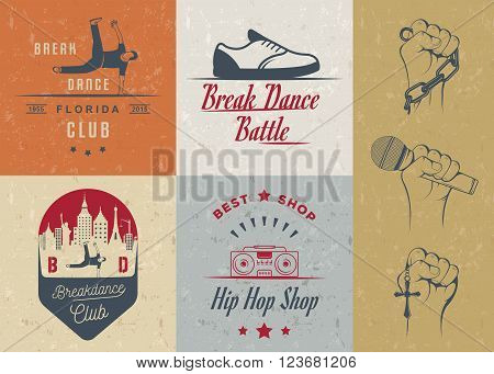 Set of Breakdance Bboy Silhouettes in Different Poses. Collection logo and badges hip-hop school academy break dance battle club cup and league. Sign Hip-hop graffiti and street dance.