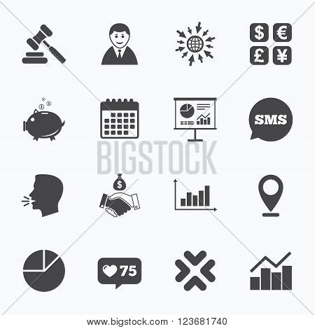 Calendar, go to web and like counter. Money, cash and finance icons. Handshake, piggy bank and currency exchange signs. Chart, auction and businessman symbols. Sms speech bubble, talk symbols.