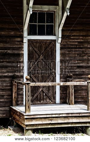 Old Barn Door With Stoop And Railing
