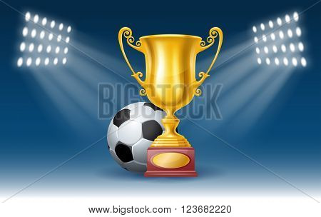 Football Poster with Soccer Ball and Golden Trophy Cup on the Stadium. Football Concept. Realistic Vector Illustration.