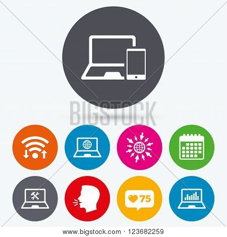 Wifi, like counter and calendar icons. Notebook laptop pc icons. Internet globe sign. Repair fix service symbol. Monitoring graph chart. Human talk, go to web.