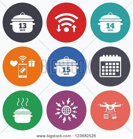Wifi, mobile payments and drones icons. Cooking pan icons. Boil 13, 14 and 15 minutes signs. Stew food symbol. Calendar symbol.