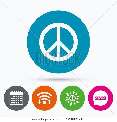Wifi, Sms and calendar icons. Peace sign icon. Hope symbol. Antiwar sign. Go to web globe.