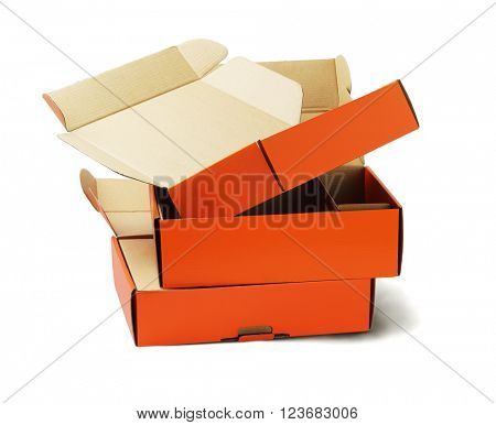 Discarded Orange Product Package Boxes for Recycling on White Background