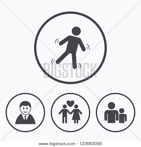 Businessman person icon. Group of people symbol. Man love Woman or Lovers sign. Caution slippery. Icons in circles.