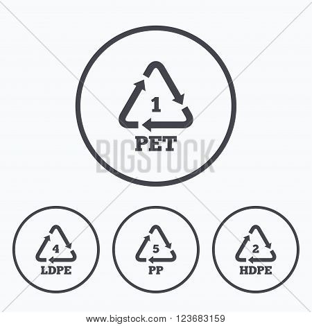 PET 1, Ld-pe 4, PP 5 and Hd-pe 2 icons. High-density Polyethylene terephthalate sign. Recycling symbol. Icons in circles.