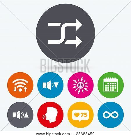 Wifi, like counter and calendar icons. Player control icons. Sound louder and quieter signs. Dynamic symbol. Shuffle random and repeat loop. Human talk, go to web.