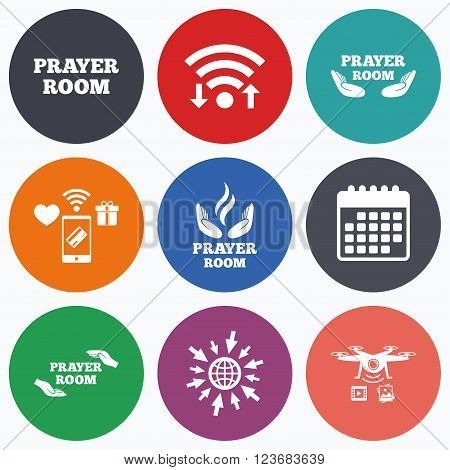 Wifi, mobile payments and drones icons. Prayer room icons. Religion priest faith symbols. Pray with hands. Calendar symbol.