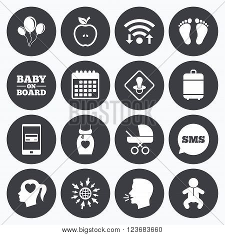 Wifi, calendar and mobile payments. Pregnancy, maternity and baby care icons. Air balloon, baby carriage and pacifier signs. Footprint, apple and newborn symbols. Sms speech bubble, go to web symbols.