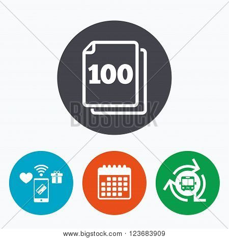 In pack 100 sheets sign icon. 100 papers symbol. Mobile payments, calendar and wifi icons. Bus shuttle.