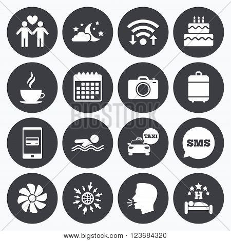 Wifi, calendar and mobile payments. Hotel, apartment service icons. Swimming pool. Ventilation, birthday party and gay-friendly symbols. Sms speech bubble, go to web symbols.