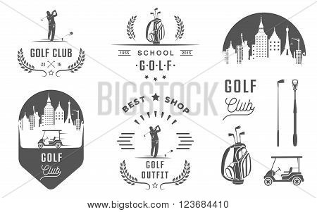 Vector set of vintage golf club logos labels and emblems. Set of golf country club logo templates. Golf labels and badges with sample text. Golf emblems for golf tournaments organizations and clubs.