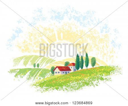 Graphic summer landscape with village, graphical elements for design project.