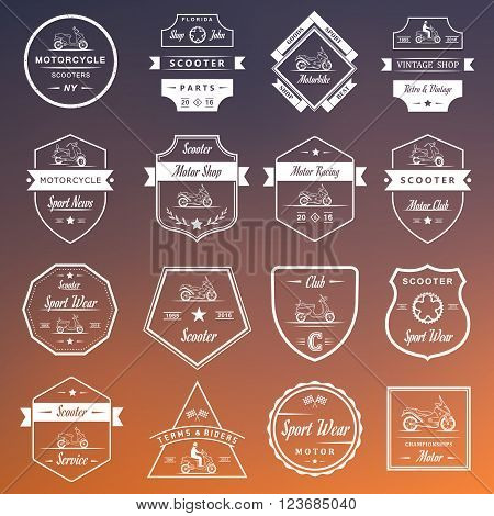 Set vector vintage scooter and motorcycle logos badges sign icon and isolated silhouettes. Collection hand drawn equipments retro bikers garage repair service