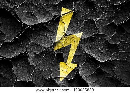 Grunge cracked High voltage sign with yellow and black colors