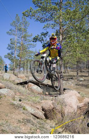 Ulan-Ude, Russia - April 27: unidentified racer looked into the camera in a jump on the competition for the