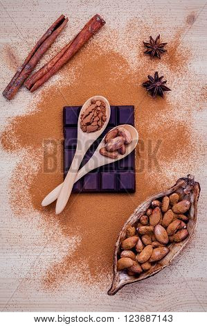 Brown chocolate powder in spoon , Roasted cocoa beans in the dry cocoa pod fruit and dark chocolate setup on wooden background.