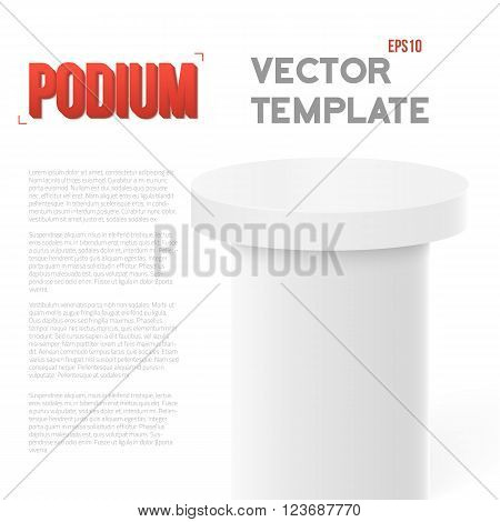 Illustration of Photorealistic Vector Speaker Stand Tribune Template. Vector Podium Mockup Isolated on White Background