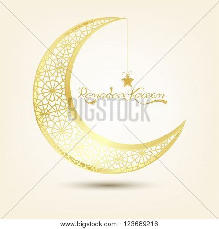 Illustration of Golden crescent moon on brown background