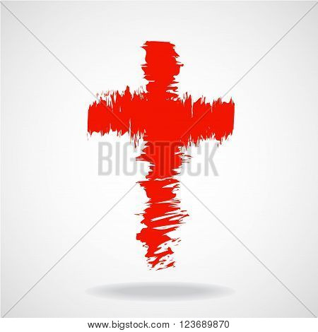 Cross painted brushes, christian symbol, abstract illustration