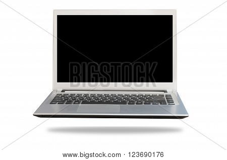 Black Free space Laptop Monitor isolated on white background. View from above black screen.