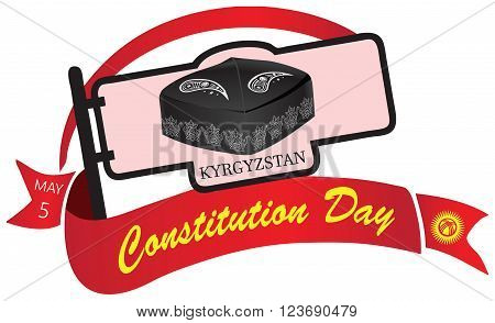 Banner Constitution Day in Kyrgyzstan celebrated on May 5. Vector illustration.