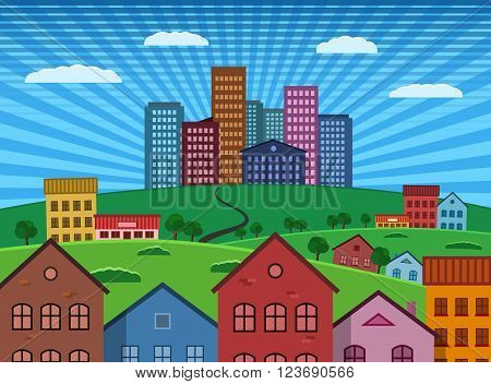 Suburb and City on Green Hill flat design illustration. Vector EPS 10. All layers selectable and editable.