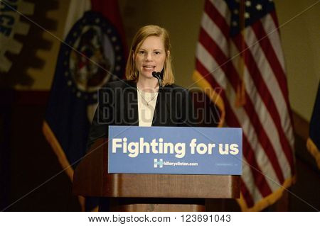 Bridgeton, MO, USA - March 08, 2016: Missouri Auditor Nicole Galloway speaks to supporters of presidential democratic candidate Hillary Clinton, at District 9 Machinists Hall in Bridgeton, Missouri.