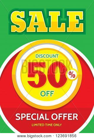 Sale vector banner - discount 50% off. Special offer layout. Limited time only! Sale banner design in A4 vertical format.