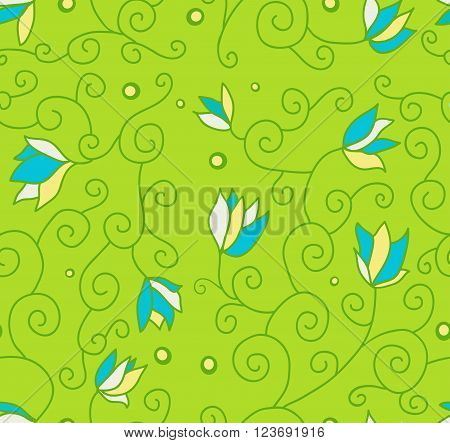 Example of flowers for fabric, seamless structure, a graphic element of design, a petal of the blossoming flower, plants interwoven into standard, botanical decoration, a vector pattern
