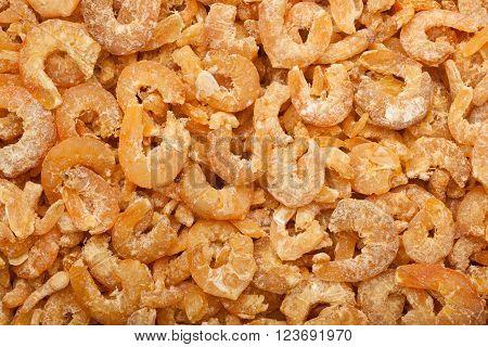Closeup of a lot of dried shrimps