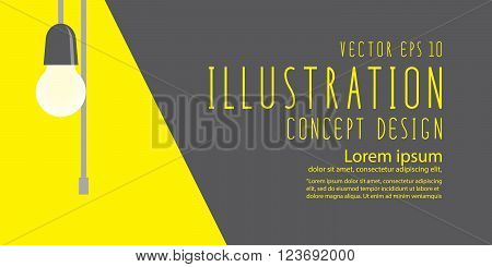 Illustration vector bulb that shines brightly banner flat style.